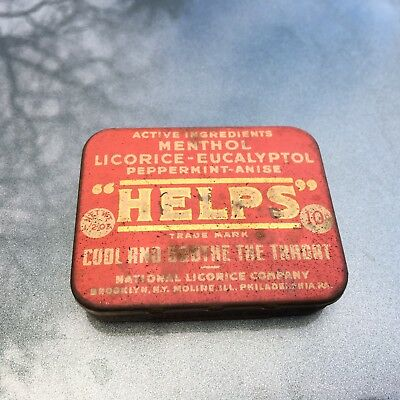 Vintage Medicinal Tin Helps Sore Throat National Licorice Co NY IL PA 10¢ Nice