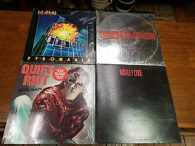 Lot of 4 LP's Classic Hard Rock Prog Metal Vinyl Original Vintage MOTLEY CREW