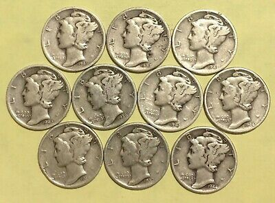 Mercury Dimes - Lot of 10, Mixed dates and mint marks 90% Silver Mercury Dimes