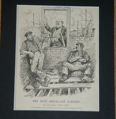 Vintage Punch Cartoon Mounted BRICKLAYER HOUSING SCHEME STRIKE 1921