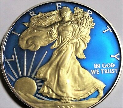 (Random year) 1 Oz American Eagle Colorized Authentic .999 Silver Coin