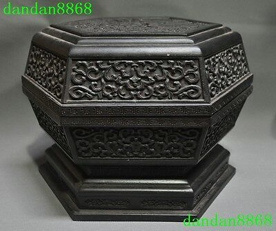 Old Chinese Rosewood Wood Carving Dragon Dragons Beast Pattern Statue Box Boxs