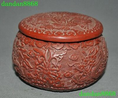 "5""Old Chinese lacquerware Carving dragon beast statue Jewelry Box Ink cartridges"
