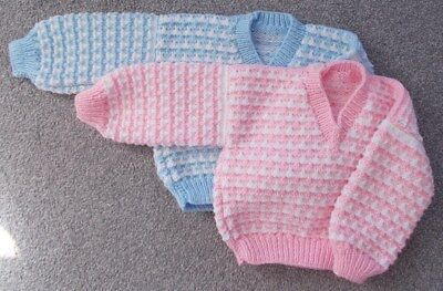 Hand Knitted V Neck Jumpers for Twins 18-24 Months