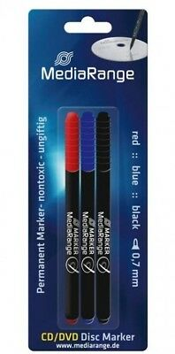 5 x Black/Blue/Red Pack Of 3 Marker Pens CD/DVD Disc Writing Pens Permanent Ink