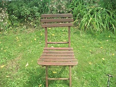 Antique Wooden Folding Chair~Slatted~Original Stain Finish~Reverse Folding Seat