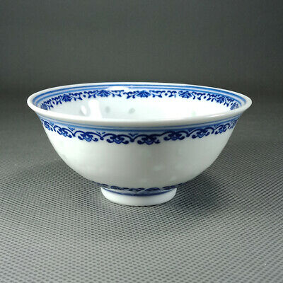 Exquisite Chinese old Porcelain Blue & white painting Butterfly flowers Bowl