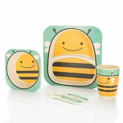 Kids Bamboo Dinner Breakfast Eco Dish Set 5 Pcs Plate Bowl Mug Spoon Fork  Bee