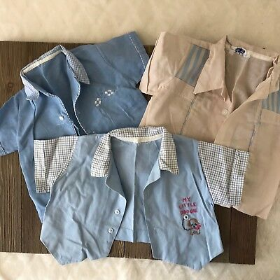 Vintage Baby Boy Set of 3 Lot of Button Up Shirts Size 6-12 Months #B1