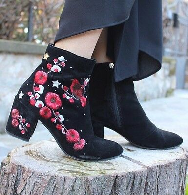 e57c15d968e STRADIVARIUS (Zara group) black floral embroidered leather ankle boots new  6 8