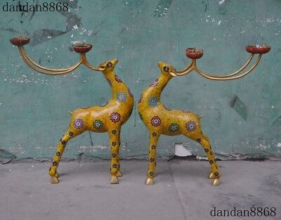 Old Chinese Bronze Cloisonne Dynasty Auspicious Deer Candle Holders Candlesticks