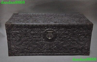 """23""""Chinese dynasty rosewood wood Carving Double Dragon Dragons Storage Box Boxes"""