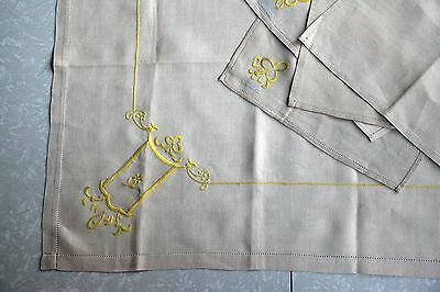 Vintage Embroidered Linen Tablecloth Square Made in Japan 4 Napkins Yellow Hand