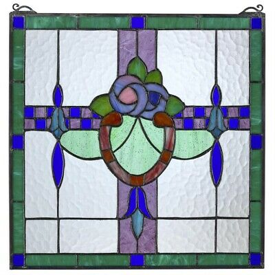 """17"""" x 17"""" Horseshoe of Floral Blossoms Tiffany Style Stained Glass Window Panel"""