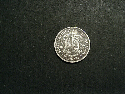 South Africa Florin 1924 in Fine  (4 pearls)