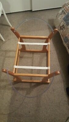 Mothercare antique pine wooden rocking Moses basket stand crib
