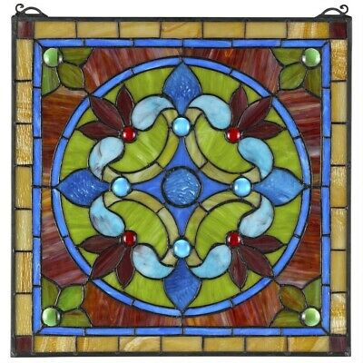 """17"""" x 17"""" French Riviera Cabaret Tiffany Style Stained Glass Window Panel"""