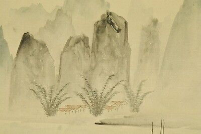 CHINESE PAINTING LANDSCAPE HANGING SCROLL Asian OLD China Antique Harbor b329