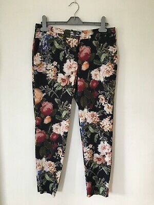River Island UK 10 Floral Cigarette Pants Trousers Slim Leg Black Office Career