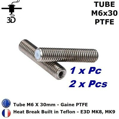 Tubes M6 x 30mm Heat Break PTFE 1.75mm Extrudeuse MK8, MK9 imprimante 3D Printer