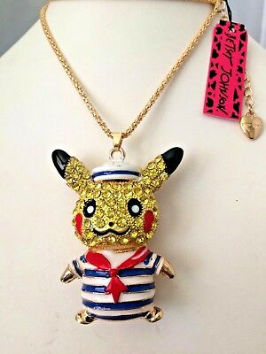 Betsey Johnson Red White Blue Crystal Sailor Mouse Gold Plated Pendant Necklace
