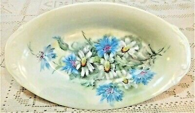 "VINTAGE EARLY 20th CENTURY HAND PAINTED LOVELY FLORAL 8.75"" SERVING DISH"