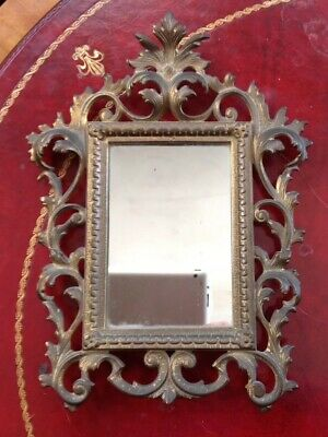 Antique Brass Ornate French Victorian Picture Frame Or Shaving Mirror 9 x 12