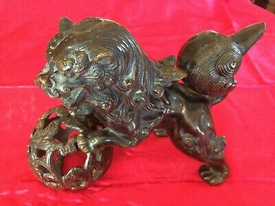 Antique/Vintage Japanese Large Cast Iron Guardian Lion (Foo Dog) From Japan
