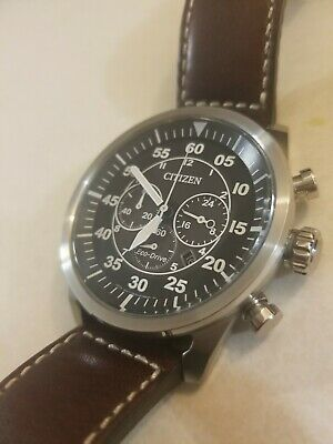 CITIZEN ECO-DRIVE Men's Avion Chronograph Military Style Brown Leather