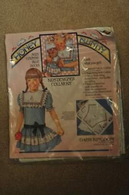 """Daisy Kingdom Honey Bunny Collar Panel   For Girl And 18"""" Doll  Country Blue Duc"""