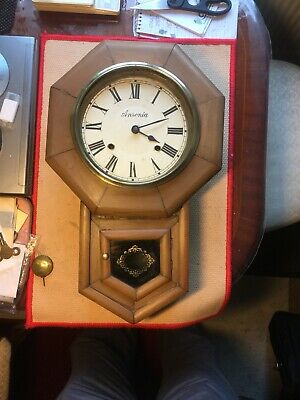 Antique Wall Clock American Ansonia Drop Dial For Restoration.