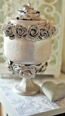 ❤ Large Stunning Shabby Chic French Style Grey Glass Jar with Large Roses ❤