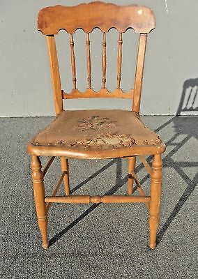Antique Accent Chair w Vintage Floral Tapestry Seat Cover