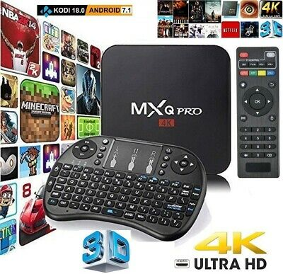 MXQ Pro KODI 17.6 4K HD Ultra Android 7.1 Quad Core 64 Bit Smart TV Box+Keyboard