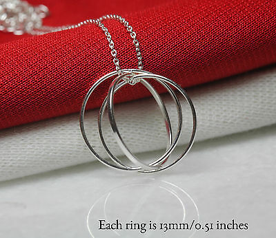 Forever Charm Necklace Three Rings Looped Pendant Sterling Silver 925 With Chain