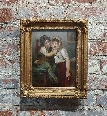 Young Sisters - 19th century Oil painting -Signed