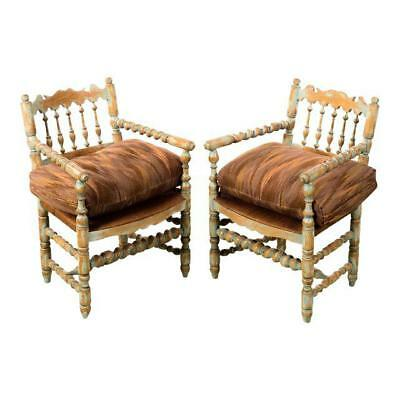 19th century Antique Farm Arm Chairs w/Carved Spindles-A pair