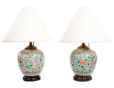 Chinese Pair of Beautiful Antique Hand Painted Porcelain Dragon Lamps