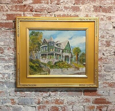 W. Mills -Historic Victorian House in Los Angeles -Oil painting c1930