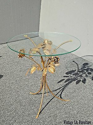 Vintage Italian Gold Gilt Floral Leaf Tole Glass  Round Side End Table