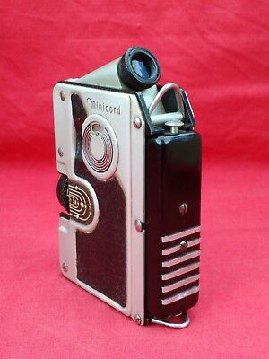 VINTAGE GOERZ MINICORD 16mm TLR SUBMINIATURE CAMERA, CASE & FILTERS. f 2 LENS