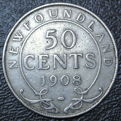 OLD CANADIAN COIN 1908 NEWFOUNDLAND - 50 CENTS - .925 SILVER - Edward VII -Nice