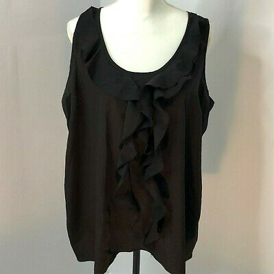 Motherhood Maternity Sleeveless Blouse Ruffle Black Tank Top Size XL