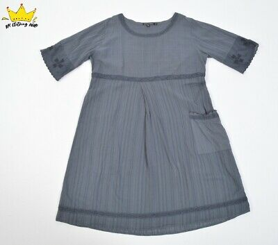 GUDRUN SJODEN S Sleeve Grey Organic Cotton Cute Boho Summer Dress Tunic Sz XL 14