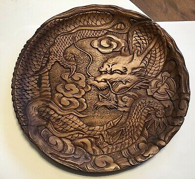 Vintage Carved Wood Asian Dragon Wall Art Plate