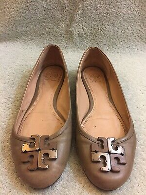 7f69eafc3a0 TORY BURCH Flats - Lowell 2-Tone Logo Ballet Flats Gray Brown Leather Size 8