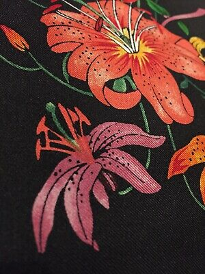 """Gucci Pure Silk Panel Remnant Flora 100% Silk Fabric Quilt 17""""x5"""" Stunning!!"""