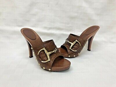 09c9894e3bf GUCCI Horsebit Brown Leather Platform Clog Sandal Heels Ostrich Pattern Sz   7.5