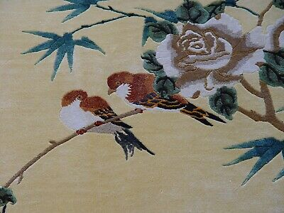 """HAND-KNOTTED SILK CHINESE ART DECO PICTORIAL ORIENTAL RUG  BIRDS  2'2"""" x 3'1"""