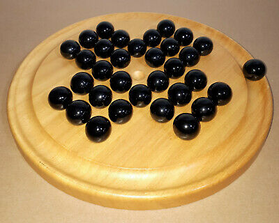 """Vintage Large Wooden Solitaire Game 13.5"""" Board By House Of Marbles Black Glass"""